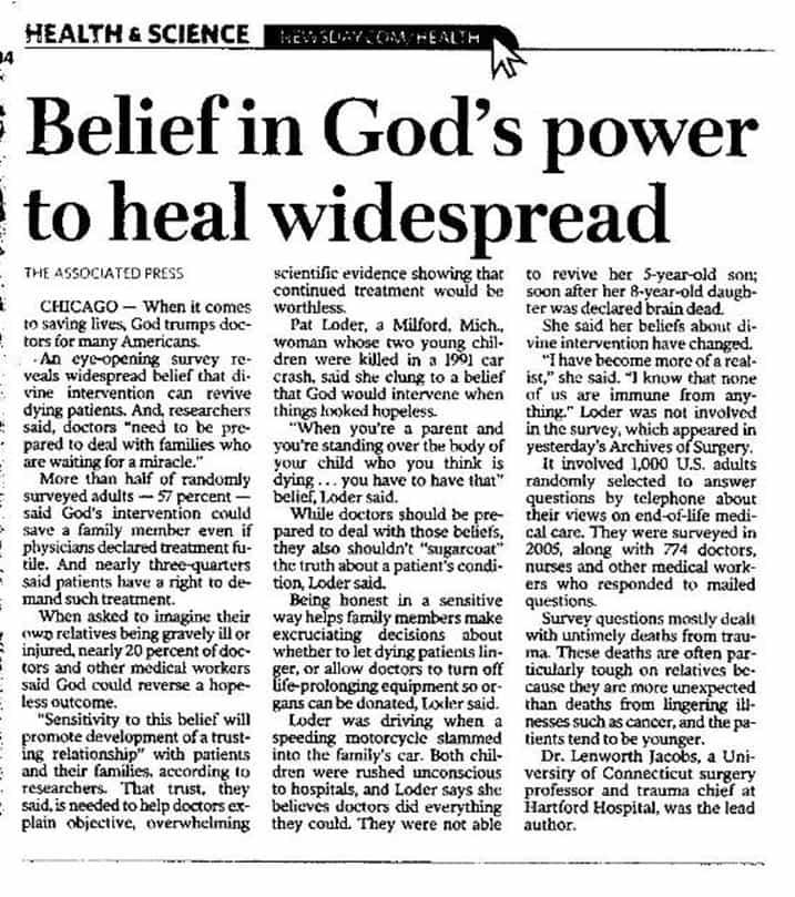 Belief in God's Power to heal widespread
