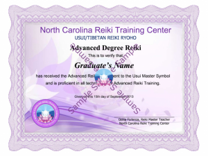 Advanced Reiki Training Class, North Carolina